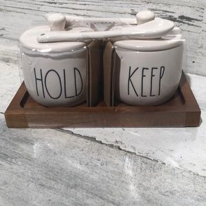 Rae Dunn HOLD KEEP containers with spoons NEW!